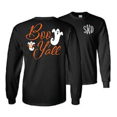 Boo Y'all Ghost Monogrammed Long Sleeve Shirt Halloween Shirt ($24) ❤ liked on Polyvore featuring tops, t-shirts, dark olive, women's clothing, collared t shirt, fitted shirt, olive green t shirt, monogrammed shirts and long sleeve tops