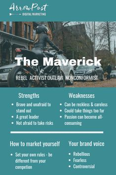 Maverick brands are rebellious. They don't want to settle for the status quo and they want to create change. Jungian Archetypes, Brand Archetypes, The Way You Are, How Are You Feeling, Status Quo, Brand Identity Design, Character Creation, Mbti, Business Branding