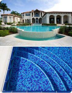 Swimming pool step tile trim pools pinterest for Pool design tiles