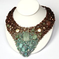 RESERVED Handmade stitched beadnecklace by nordiclightlampwork, $500.00