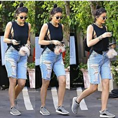There are a lot combinations and available accessories that can go along with your kids' Bermuda shorts. Cute Summer Outfits, Summer Wear, Casual Outfits, Cute Outfits, Fashion Outfits, Women's Fashion, Knee Length Denim Shorts, Ripped Shorts, Bermuda Shorts Outfit