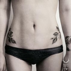 Leaf hip tattoos by zihwa_tattooer