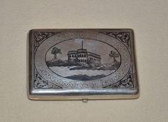 Antikes Zigaretten Etui Dose Russland Tula Silber 84, um 1900