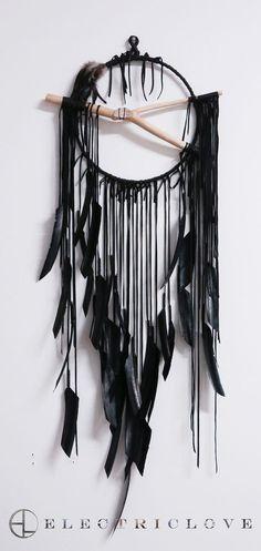 "Stone Smoke Black Sample -  Lemuria Series - 14"" Ring Lemuria Sea in Stone Smoke Black with Dyed Feathers, Hand Carved Branch & Quartz Crystal"