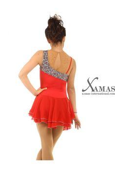 00635 Figure skating dress, red, sleeveless, diamante, sequins ...