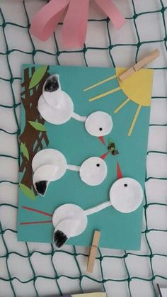 Fall Paper Crafts, Bird Crafts, Spring Crafts, Easter Crafts, Diy And Crafts, Arts And Crafts, Preschool Painting, Preschool Crafts, Art N Craft