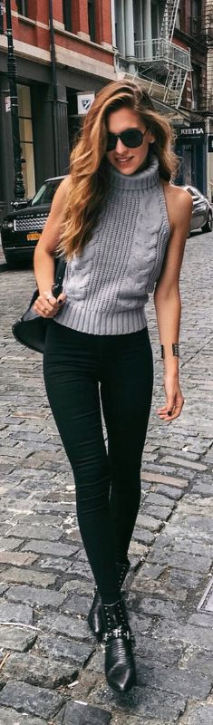 New York State Of Mind. Knit Sweater Top and Skinnies