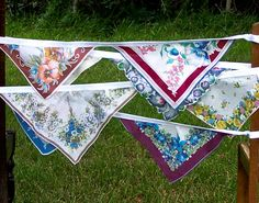Vintage Hankie Bunting Banner Wedding Decorations Party Bunting Blue Floral Hanky Garland Free Shipping. $45.00, via Etsy.