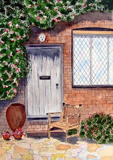 Watercolour and ink.  Gardenhouse at Sissinghurst castle, England.