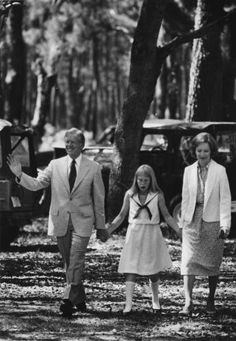 President Carter and his wife, Rosalynn, and daughter Amy walked to church during their April vacation on the secluded Sapelo Island. Source: Jimmy Carter Presidential Library