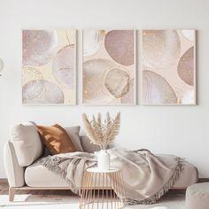 Boho Living Room, Living Room Bedroom, Living Room Decor, Bedroom Sofa, Pastel Room, 3 Piece Wall Art, Bedroom Prints, Home Wall Decor, Art Decor