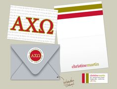 For Aunt Brooke! The ultimate AXO stationery pack! This includes folded personalized note cards, mailing envelopes, and return address labels. Enjoy!! ~ <3 , Erin
