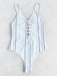 Shop Striped Lace Up Cami Swimsuit online. SheIn offers Striped Lace Up Cami Swimsuit & more to fit your fashionable needs.