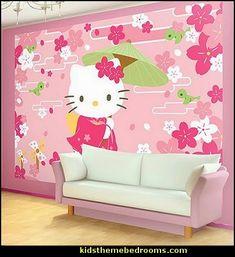 Hello+Kitty+Geisha+Wallpaper+Mural (404×441)