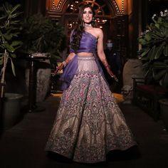 (C) Jadebymk | Bridal lehenga | Trendy outfits for brides Blue Lehenga, Silk Lehenga, Bridal Lehenga, Ladies Sangeet, Daytime Wedding, Color Blocking Outfits, Cocktail Night, Baby Dress Patterns, Blue Bridal