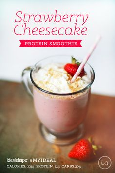 graham cracker crumbs, 2 TBS sugar free cheesecake jell-o pudding mix. Add ice and blend. Top with fat-free whip cream 310 Shake Recipes, Protein Shake Recipes, Smoothie Recipes, Protein Shakes, Weight Loss Smoothies, Healthy Smoothies, Healthy Drinks, Healthy Recipes, Dessert Healthy