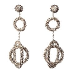Miriam Haskell Long Diamante Gyroscope Hoop Earrings | From a unique collection of vintage hoop earrings at https://www.1stdibs.com/jewelry/earrings/hoop-earrings/