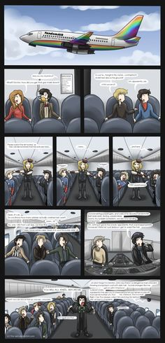 """""""ALL THE FANDOMS COLLIDE! And try to take a leisurely flight together. Who decided to let Sherlock be the pilot?"""""""