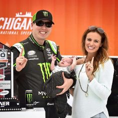 Kyle Busch with his wife, Samantha and the newest member of their family, Brexton. Xfinity win at Michigan 6-13-15.
