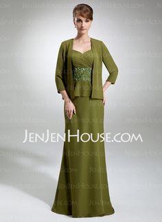 Sheath V-neck Floor-Length Chiffon Mother of the Bride Dress With Ruffle Lace Beading (008003195) - JenJenHouse