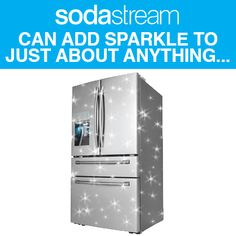 Samsung's newly launched four door French Door 'Sparkling Refrigerator' (SRF890SWLS) powered by SodaStream, features an integrated sparkling water dispenser that uses SodaStream's 60L CO2 cylinder and is concealed inside the left refrigerator door.  http://www.current.com.au/2013/08/15/article/Samsung-sparkles-with-first-to-market-SodaStream-fridge/XPTFAOMOLB