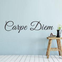 Quote Carpe Diem muurtekst op een mint groen / blauwe muur. Deze pluk de dag muursticker past goed in een landelijke woonkamer of slaapkamer. DIY muurtekst stickers quote positief