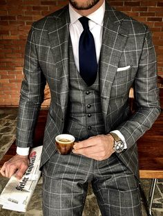Gentleman Style 844847211334085940 - 10 Patterns Every Gentleman Should Know About – Mens wedding suits – Source by Grey Suit Wedding, Wedding Men, Diy Wedding, Style Costume Homme, Mode Costume, Designer Suits For Men, Mens Fashion Suits, Gentleman Style, Dapper Gentleman