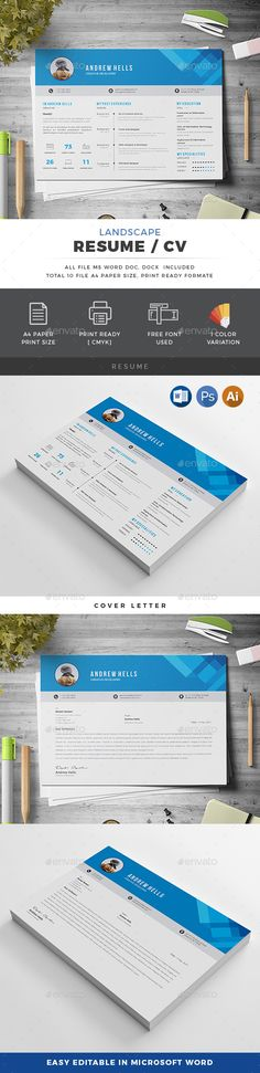 Landscape Resume - #Resumes #Stationery Download here: https://graphicriver.net/item/landscape-resume/20441918?ref=alena994