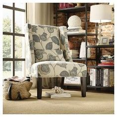 Lennox Wingback Nailhead Accent Chair Blue Floral - Inspire Q : Target