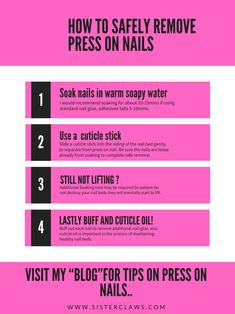 Hey Ladies, Have you ever wondered how to remove press on nails the correct way? Here is a simple guide to help you on your way! Aycrlic Nails, Glue On Nails, Diy Nails, Cute Nails, Hair And Nails, Business Nails, How To Remove Glue, Natural Nail Designs, Manicure And Pedicure