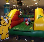 Our inflatable pillow bash game is available to book for your children's party in the London & the UK.
