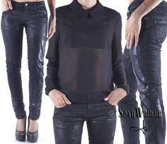 Total black - denim with leather details - shirt in crepe by Sexy Woman