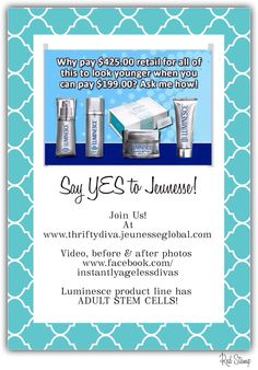 Join me at www.thriftydiva.jeunesseglobal.com Before After Photo, Look Younger, Stem Cells, Join, Ideas, Beauty, Youth, Thoughts