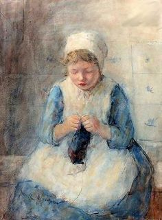 Robert Gemmell Hutchison (1855 – 1936, Scottish)  A Girl Knitting