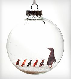 Glass Little Penguins Holiday Ornament