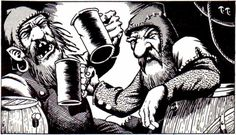 Every night in the dwarven quarters (by Timothy Truman, from D&D module X3: Curse of Xanathon, TSR, 1982).