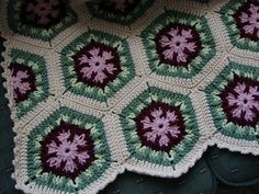 Handmade Crochet Antique Rose Kaleidoscope Afghan 48 x 68 Crochet Hexagon Blanket, Crochet Granny Square Afghan, Crochet Rug Patterns, Crochet Afghans, Crochet Blankets, Crochet Mushroom, Antique Roses, Crochet Projects, Antiques
