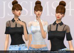Stylish Mesh Blouse Sims 4 CC Maxis Match