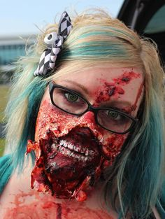 Ripped Mouth Zombie Makeup