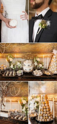 Never seen the Great Gatsby - mostly I pinned this for the tree which is draped in pearls.  I also saw a huge bouquet with large flowers and gaudy feathers that I thought looked appropriate.  Courtest of http://www.hochzeitswahn.de/