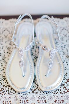 jeweled sandals | Rachel May #wedding This is will probably be happening come reception time...