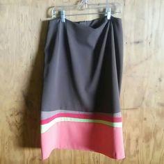 Brown skirt Multi color at bottom Harve Benard Skirts