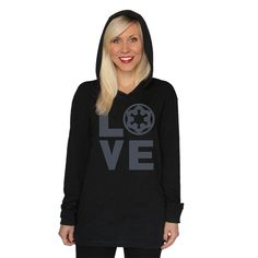"""Her Universe """"IMPERIAL 'LOVE' HOODIE"""" ($40.00) ~ """"Do you love Star Wars? Are you an Empire girl? Show your love for the dark side in our Imperial Love Lounge hoodie. This shirt is SO soft you will not want to take it off! You know what they say, 'Come to the dark side, we have comfortable clothes!'"""""""