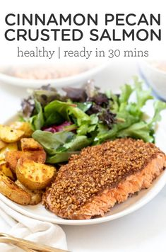 This Cinnamon and Pecan Crusted Salmon is a simple, healthy and easy dinner recipe that takes less than 30 minutes to make. Flavorful, baked in foil for the best texture, only 6 ingredients and seriously delicious! Easy Salmon Recipes, Lunch Recipes, Meat Recipes, Paleo Recipes, Healthy Dinner Recipes, Free Recipes, Food Processor Recipes, Easy Salads, Easy Meals