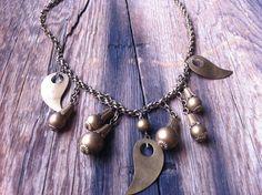 vintage 40s brass charm necklace / 40s jewelry / by JohannaVintage, $45.00