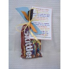 Baptism Gift - Lyrics to song....I like to look for rainbows w/packaged skittles.