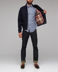 4454535bffa7 denim with a button down and flannel-lined coat