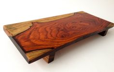 This could work for the cheese display in one of my other pins (this board)—great rustic piece of wood—footed Cocobolo wood serving board❣ (other woods also avail—love them all❣) BearMountainWoodwork