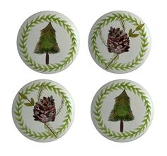 Pine Trees and Pine Cones  for Lodge or Cabin Ceramic Knobs