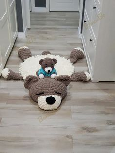 Items similar to Set rug and toy! Soft plush rug Sleeping teddy bear and Bear for children. Сrochet mat in the nursery. For gift on Baby Shower, Birthday on Etsy - Geburtstag Sheep Rug, Bear Rug, Sleep Teddies, Rug Texture, Plush Carpet, Braided Rugs, Baby Decor, Diy Craft Projects, Floor Rugs